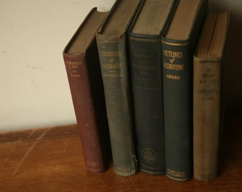 Vintage School Books, Stack of Decorative Books, Books, Old Books, Home Decor, Vintage Books, Old College Business Books
