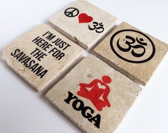 Group of 4 Kickass Coasters, The Yoga Collection, Handmade with Tumbled Tile
