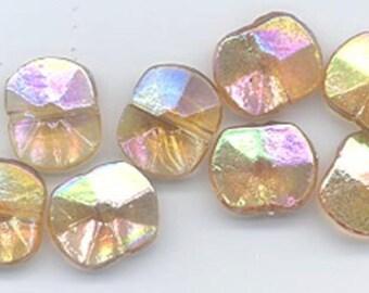 Twelve beautiful vintage West German glass faceted rectangles - topaz AB - 11.3 x 9.5 mm