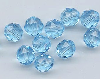 Twelve Swarovski crystals - art 5025 - 8 mm - aquamarine