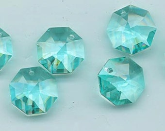 Four Swarovski lily octagons - Art. 8115 - 14 mm - antique green