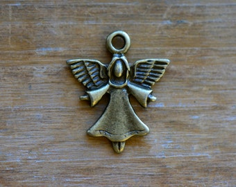 Angel Charm -  Vintage Style Pendant - Antique Bronze - Christmas Girl Angels Charms Jewelry Supplies (NO26)