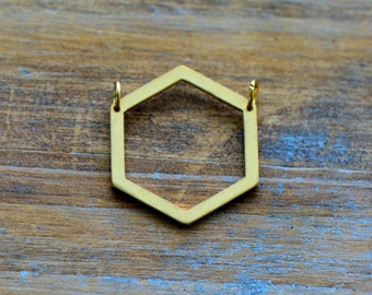 Hexagon Outline Geometric Charm Link Brushed 24k Gold Plated Stainless Steel Geometric Layered Charm Minimal Jewelry Pendant (AS004)