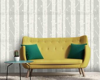 Birch Tree Wallpaper, Peel and Stick Wallpaper, Repositionable, Warm Gray W1024