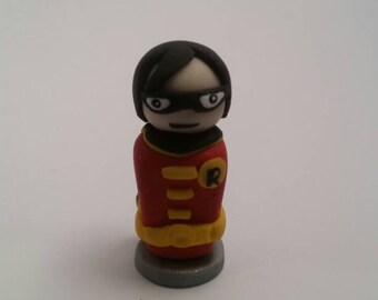 SALE - Robin Nightwing Handmade Polymer Clay Mini Figure - DC Comics