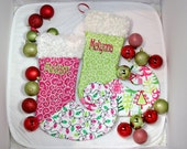 Whimsical Christmas tree stocking lights hot pink green lime personalized curly toe elf design girly teen family swirls sisters
