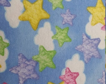 Stars, Clouds, sky, blue Flannel Quilt Fabric A E Nathon fabric  by the yard