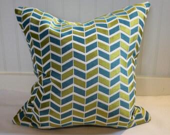 Teal and Chartruese Chevron PIllow Covers in Claridge Geometric Fabric