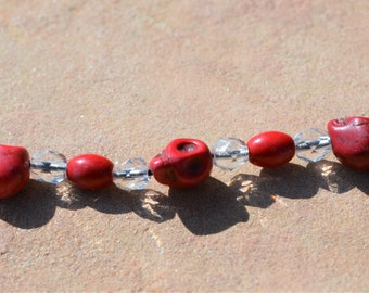 Red Howlite and Fire Polished Bracelet