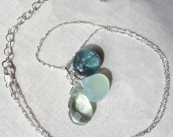 Aqua Chalcedony, Aqua and Teal Fluorite Sterling Silver Necklace