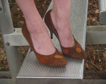 Vintage Brown Suede Heels with Leaves Leather Pumps Yellow Orange Green Shoes 8 - 8.5 Stilettos Fall Fashion Shoes
