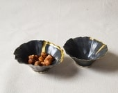 NEW! Charcoal Satin Pinch Bowl with 22K Gold Lustre (C25)