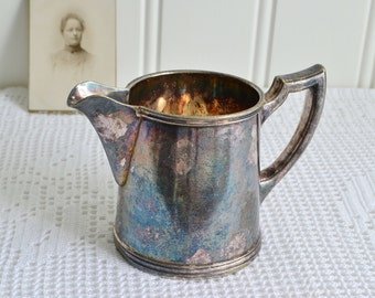 Small antique milk pitcher, vintage silver plate creamer, tarnished silver