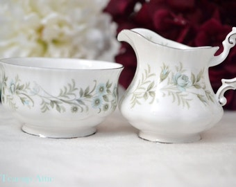 Paragon Debutante Small Open Sugar Bowl And Creamer Set, English Bone China Cream and Sugar Set, Replacement China, ca. 1963