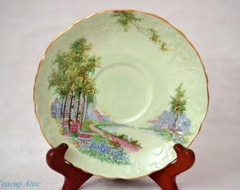 Aynsley Green Bluebell Time Replacement Saucer, Bone China Replacement Dinnerware, ca. 1939