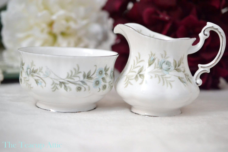 Paragon Debutante Small Open Sugar Bowl And Creamer Set, English Bone China Cream and Sugar Set, Replacement China, ca. 1963