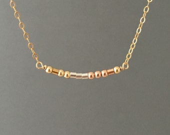 CUSTOM Gold Fill Morse Code Necklace also in Sterling Silver and Rose Gold Fill
