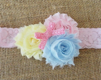 Baby Headband, Pink, Pale Yellow, Baby Blue Shabby Headband, Girls Chiffon Flower Headband, Pink Lace Headband, Infant Headband