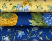 Summer Breeze III Blue and Yellow 3 Fat Quarters by Sentimental Studios for Moda Fabrics 100 Percent Cotton Quilting Fabric