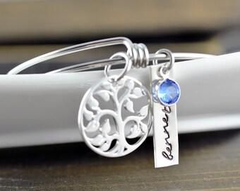 Silver Family Tree Bangle Bracelet, Tree of Life Bracelet, Family Tree Jewelry, Grandmother Gift, Gifts for Mom, Mom Gift, Name Bracelet