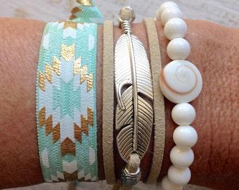 mermaid bracelets, bohemian jewelry, beachcomber beach accessories, beach bracelets