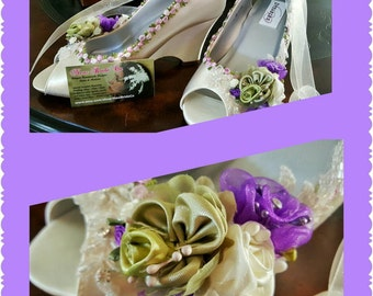 Wedge Wedding Shoes purple green Flowers, Ivory Satin Peep Toe Pumps, Satin Wedges, beaded lace, Romantic Chic
