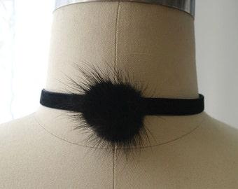 Statement Necklace Choker Velvet Black Fur Ball Handmade Punk Rock , goth gothic cute steampunk