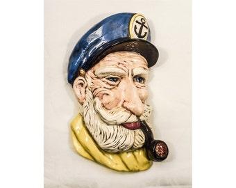 Old Sailor Seaman w/ Pipe & Cap Ceramic Plaque Signed Dated