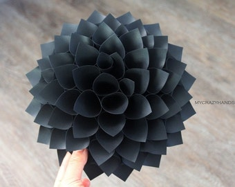 texture paper dahlia || 9'' dahlia wall art || origami flower || wedding gift || origami gifts || | dahlia door wreath -texture black