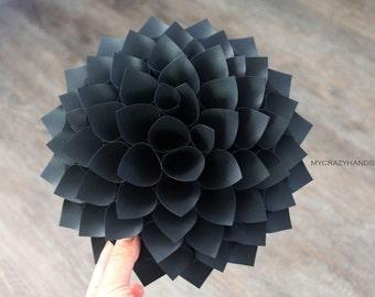 texture paper dahlia || 10 1/8'' dahlia wall decor || flower door wreath || wedding flower || origami gifts -texture black
