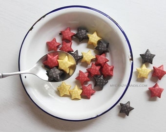 24 origami lucky stars || paper stars || origami wishing stars | cute gift for her ||| fun table decorations -fall dots