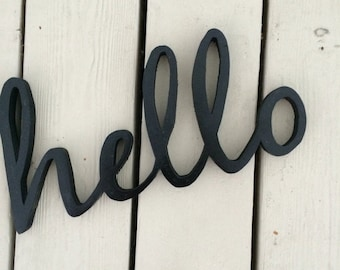 Wood Sign, Wood Word Sign, Hello Cutout, Custom Sign