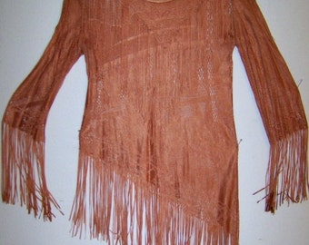 Vintage Sheer Fringed Top in Rust Tone Lacey Pattern