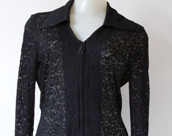 Black Lace Collared Long Sleeve Shirt