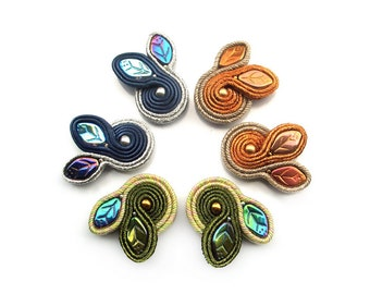 HIT! Soutache lovely leaf stud earrings  - delicate, sweet and unique  - Middle Earth Forests