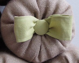 bolster pillow with granny smith green cotton bow and button 14X6, 16X6