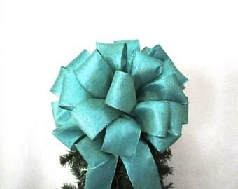 Turquoise Bow, Aqua Bow, Christmas Bow, Tree Topper Bow, Green Tree Topper Bow, Christmas Tree Bow