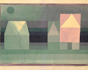 20th Century Expressionism:  Paul Klee Print Reproduction -  Three Houses, 1922.  Fine Art Reproduction.