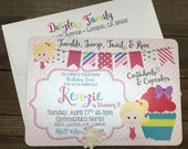 Birthday Invitations - Gymnastics, cupcakes, little girl birthday, pink, cute invites, custom, personalized