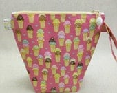 KNITTING PROJECT BAG - Sock Skinny, Zippered Wide Mouth Wedge Bag, Strawberry Ice Cream, Zippered Project Bag, Handmade, Knitting Bag