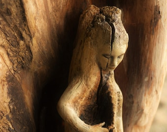 Reserved for Fi, August Payment 2 of 4, Reaching Woman, Hollow Driftwood Woman with Crack by ShapingSpirit