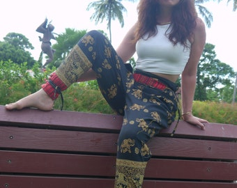 Thai Tribe pants,  Cotton, Black with Cream Elephant print & Red Hmong Hill Tribe details