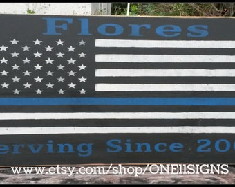 Thin Blue Line Flag, Personalized, Police Officer, American Flag, Police Officer Gift, Wooden Signs