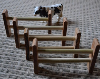 Homemade Animal Fencing Sealed with Beeswax Polish - Set of 4 for the Waldorf Inspired Playroom