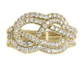 Diamond Wedding Ring Set, Infinity Knot Ring, Diamond Engagement Ring, Womens Wedding Bands, Infinity Ring, Solid Gold Ring.