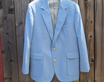 Mens Blue Sports Jacket Imperial Haggar Linen Look Gold Buttons size 42 S