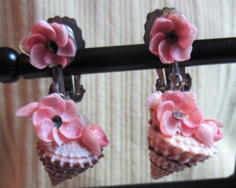 Vintage Shell Earrings with Pink Flowers Mid Century Clip On Earrings Vintage Jewelry 1950s