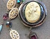 Sterling celluloid cameo meerschaum intaglio necklace flapper assemblage art Deco style