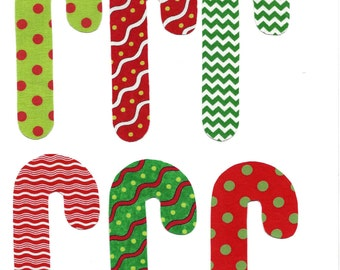 6 Christmas candy cane iron on fabric appliques DIY