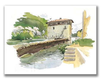 Limited and signed print — Moulin de Lustrac